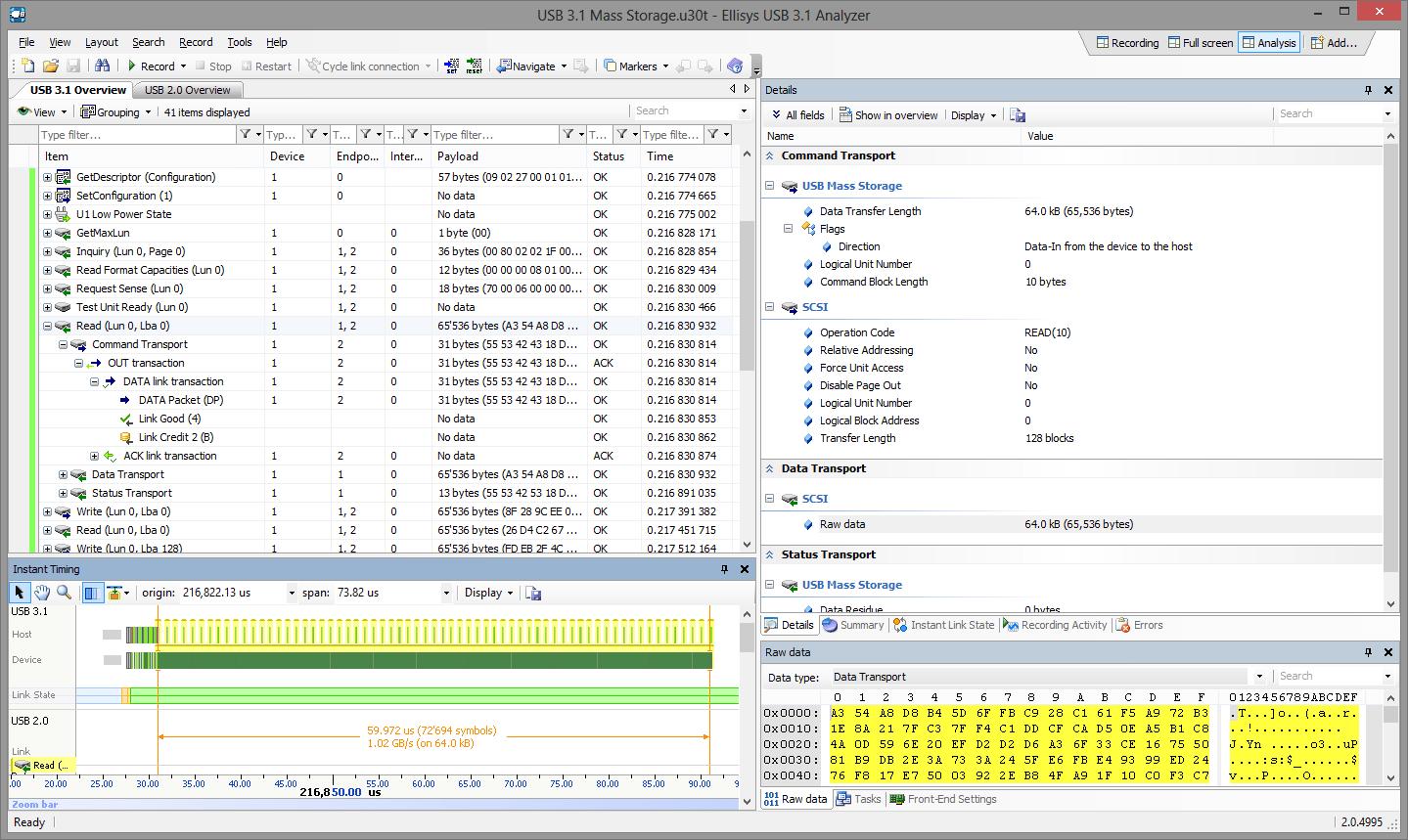 Ecran typique logiciel Ellisys Explorer 350