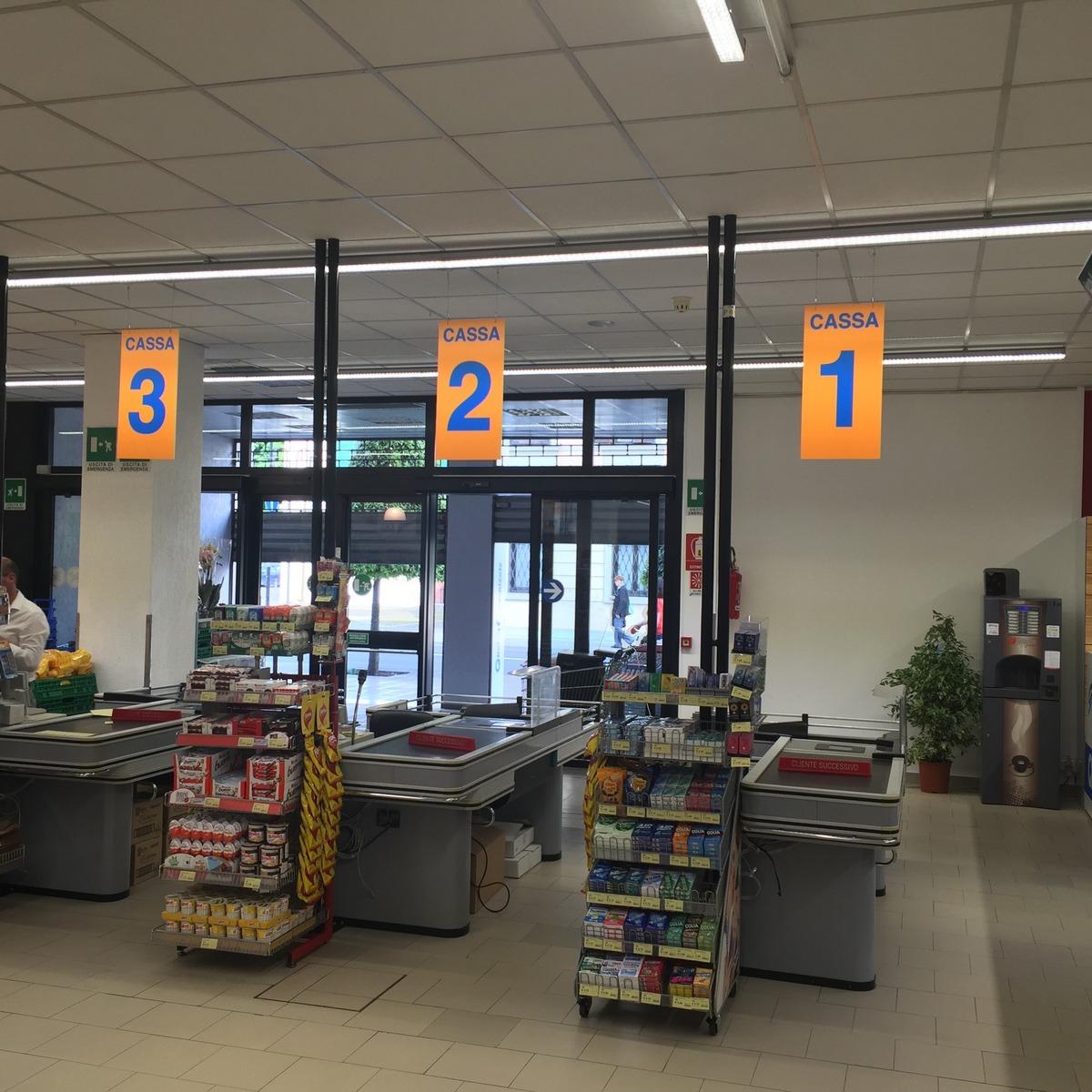 segnaletiche casse supermercato