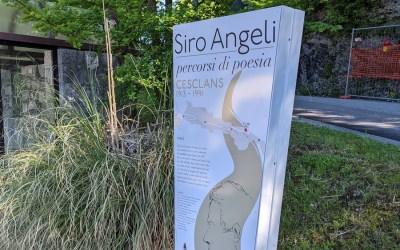"""Segnaletica turistica, percorso culturale poesie """"Siro Angeli""""."""