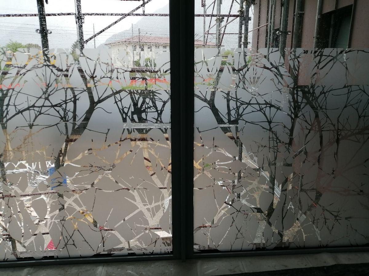 Vetrofanie con alberi sabbiato