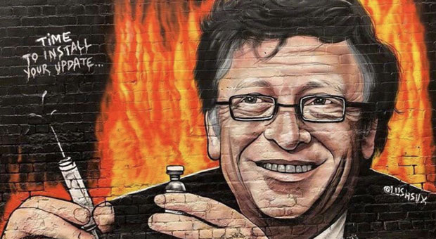 the mural depicts bill gates smiling and holding a syringe with the message   time to install your update
