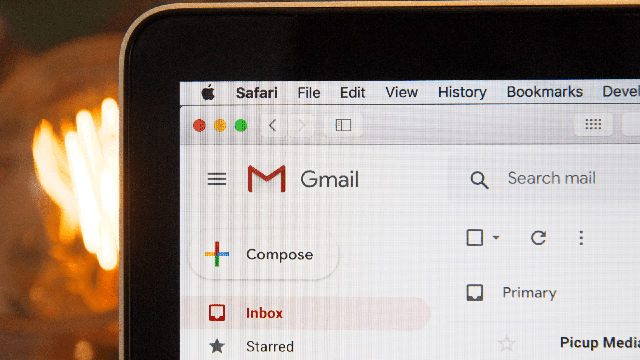 Picture of a computer with gmail