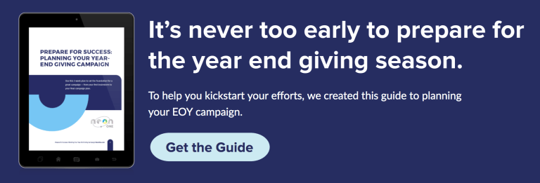 "Our FREE GivingTuesday planning guide. Plan your entire end of year campaign with ""Prepare for Success: Planning Your Year-End Giving Campaign"", a new guide from Neon One."