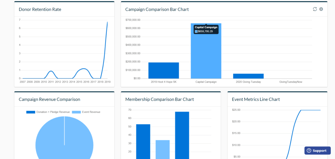 A Neon CRM dashboard showing easy-to-read visualizations of donor data