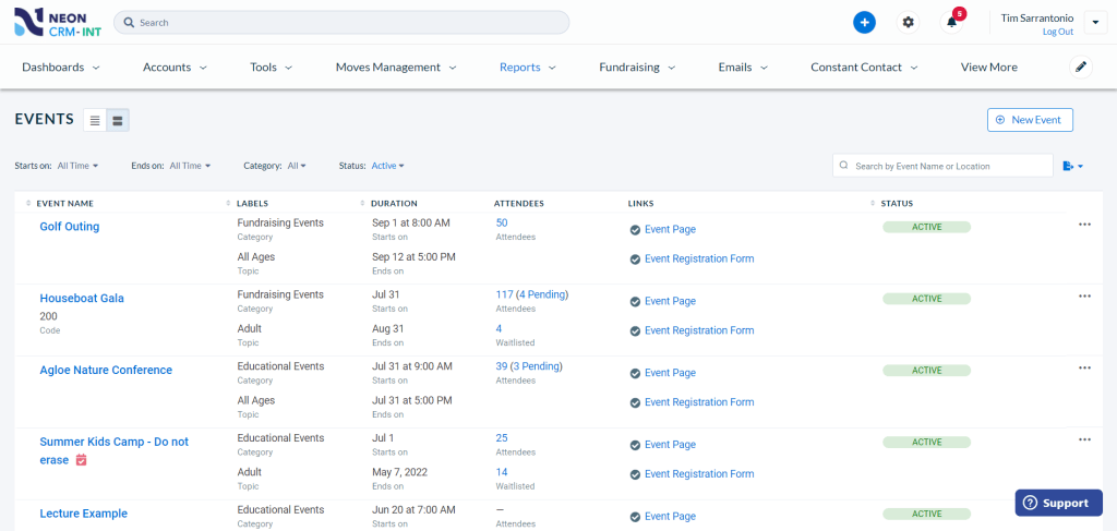 The event management page in Neon CRM, with the event and attendee details you need to run a successful event.