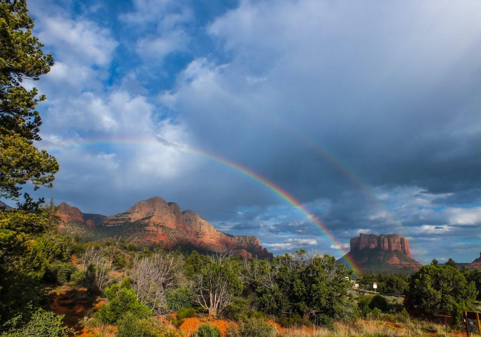 Rainbow over Arizona mountain range