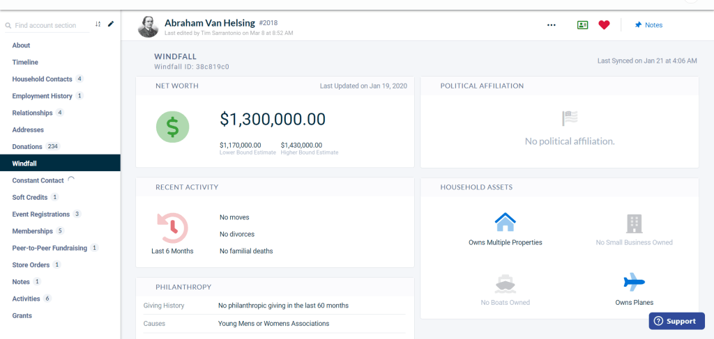 Neon CRM's Windfall integration interface. Showing detailed wealth information for a constituent.