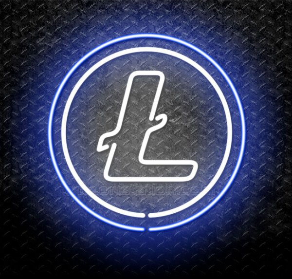 Litecoin Cryptocurrency Neon Sign
