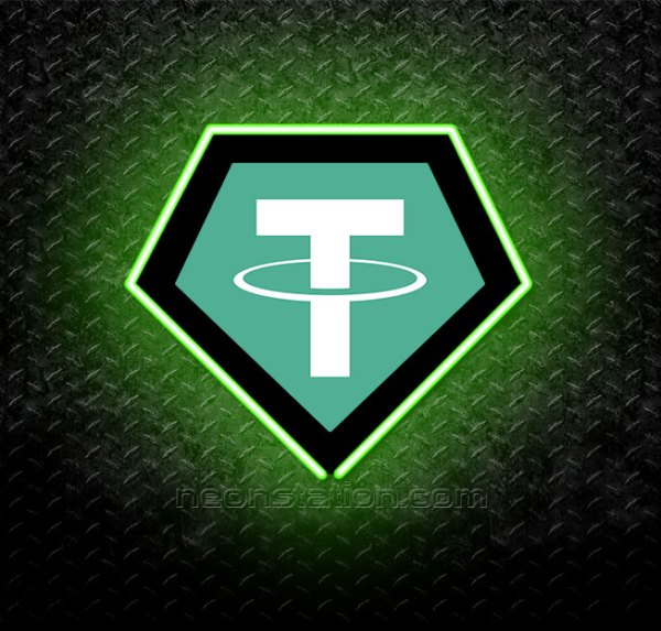 Tether Cryptocurrency 3D Neon Sign