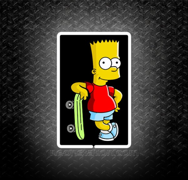 Bart Simpson Skateboard 3D Neon Sign