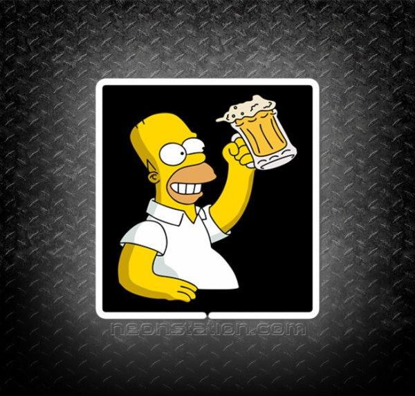 Homer Simpson Holding Beer Mug 3D Neon Sign