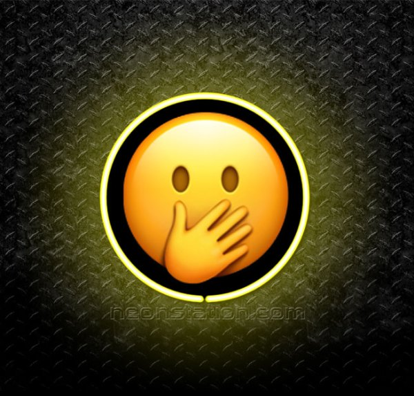 Blushing Face With Hand Over Mouth Emoji 3D Neon Sign