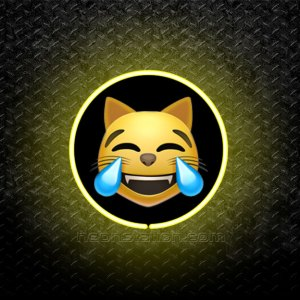 Cat Face With Tears Of Joy Emoji 3D Neon Sign
