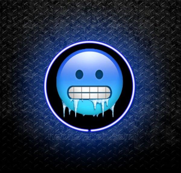 Cold Face Emoji 3D Neon Sign