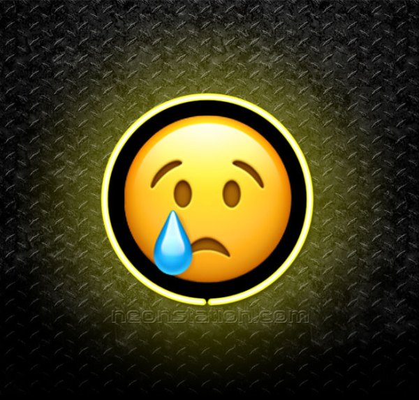 Crying Face Emoji 3D Neon Sign
