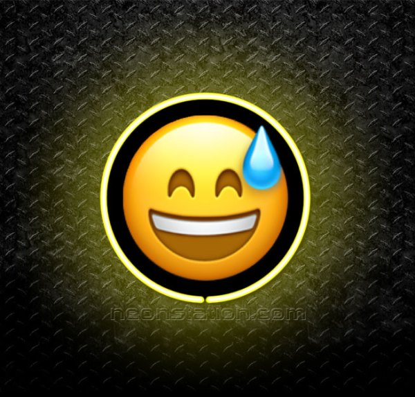 Grinning Face With Squinting Eyes And Sweat Drop Emoji 3D Neon Sign