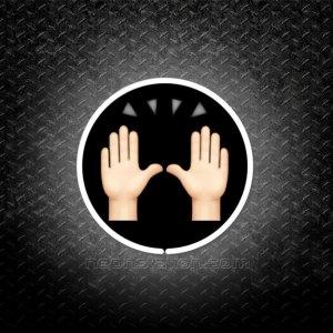Hands Raised In Celebration Emoji 3D Neon Sign