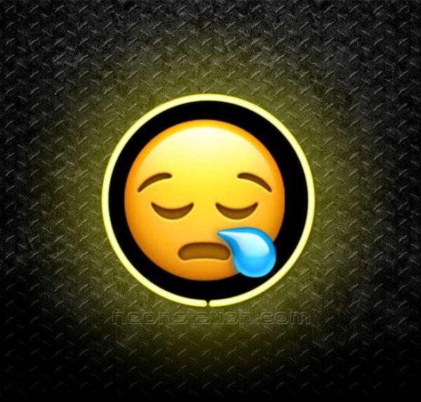 Sleepy Face Emoji 3D Neon Sign