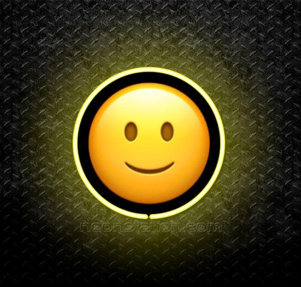 Slightly Smiling Face Emoji 3D Neon Sign
