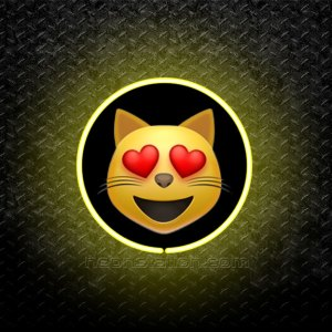 Smiling Cat Face With Heart-Shaped Eyes Emoji 3D Neon Sign