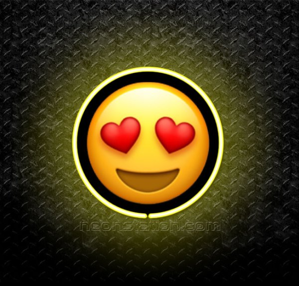 Smiling Face With Heart-Shaped Eyes Emoji 3D Neon Sign