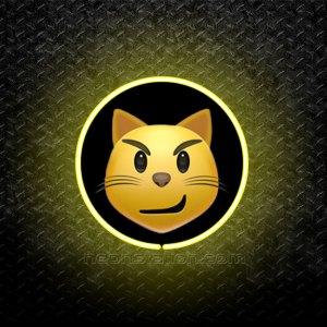 Smirking Cat Face Emoji 3D Neon Sign