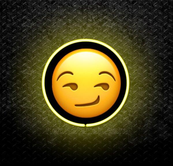 Smirking Face Emoji 3D Neon Sign