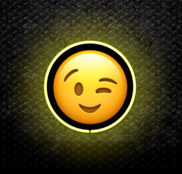 Winking Face Emoji 3D Neon Sign
