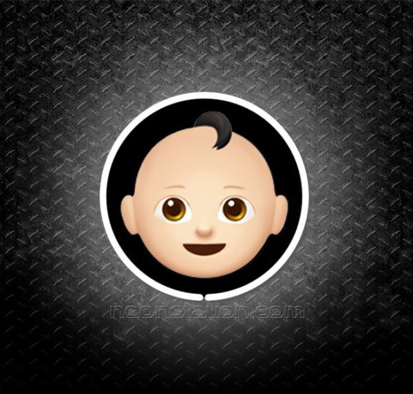 Baby Face With Black Hair Emoji 3D Neon Sign