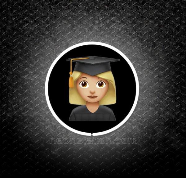 Graduate Student Girl Emoji 3D Neon Sign