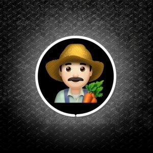 Man Farmer With Black Hair Emoji 3D Neon Sign