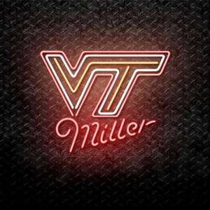 Miller Virginia Tech VT Hokies Logo Neon Sign