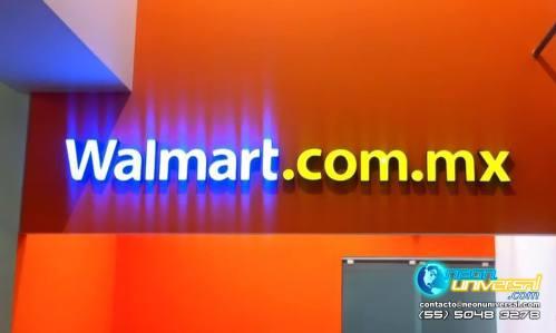 Letrero institucional luminoso 3D. Walmart