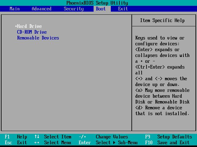 BIOS boot order screen