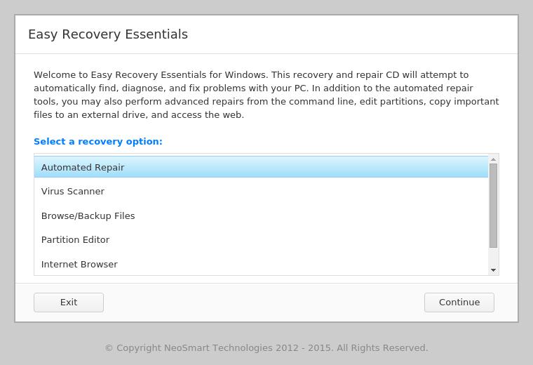Automated Repair feature in EasyRE menu