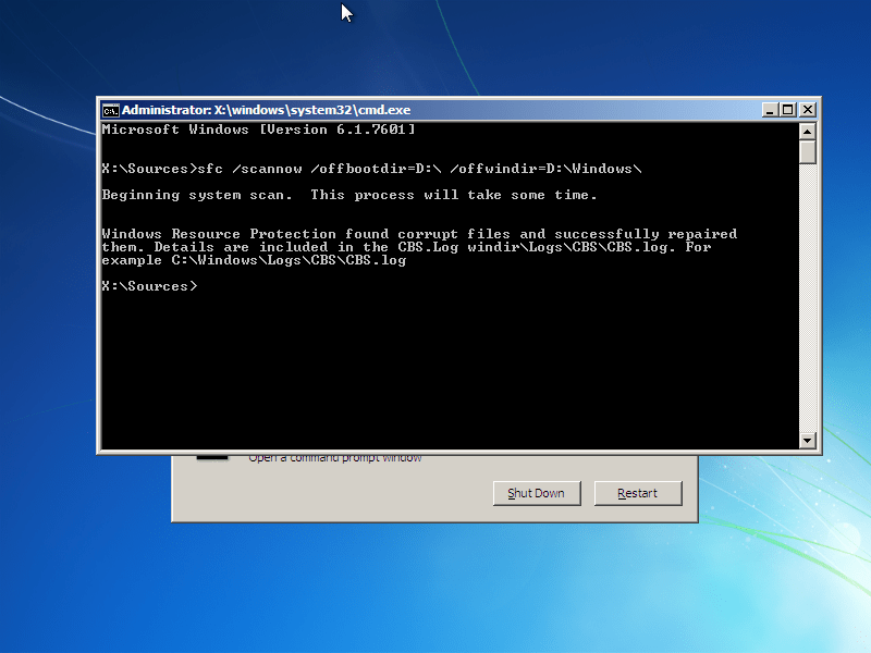 KERNEL32.dll restored by the SFC utility