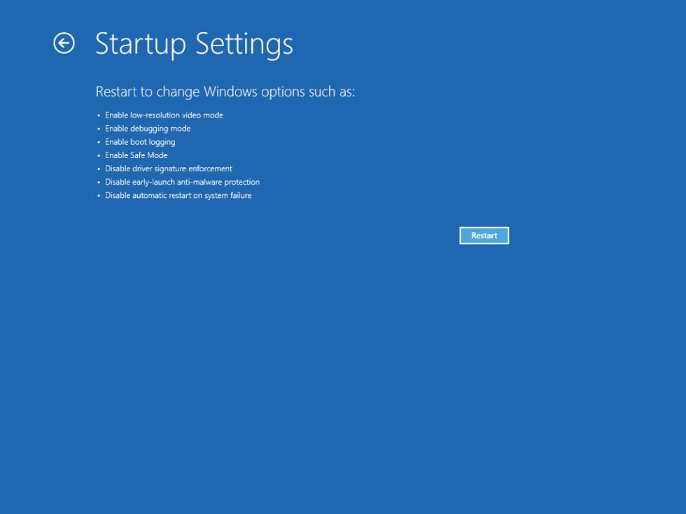 Startup Settings screen in Windows 10