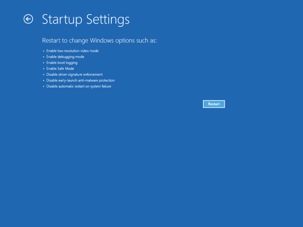 Startup Settings screen in Windows 10