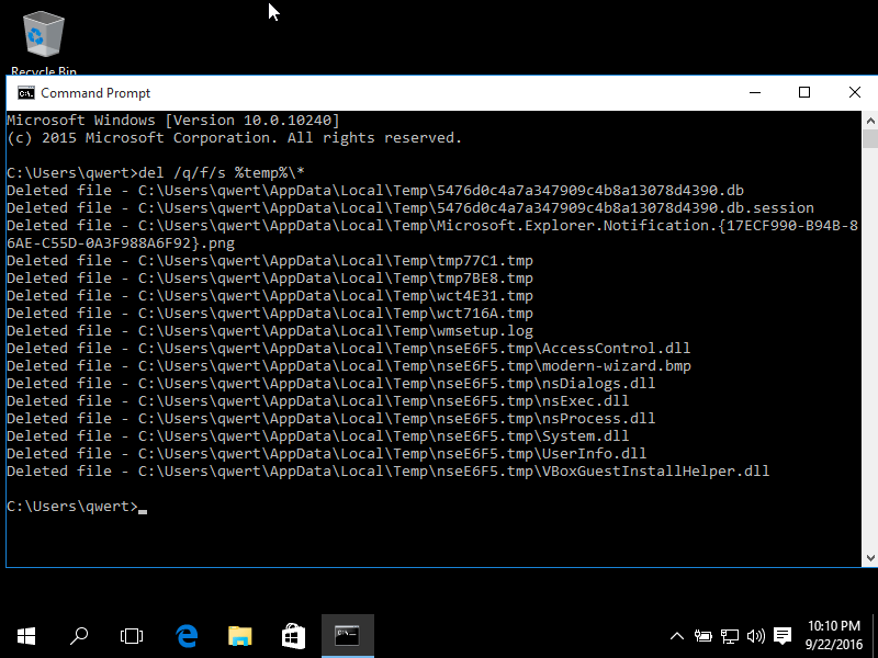 Deleting temp files using Command Prompt in Windows 10