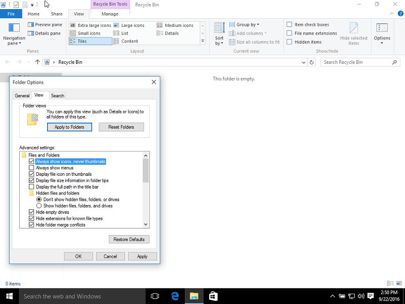 Thumbnails folder options in Windows 10