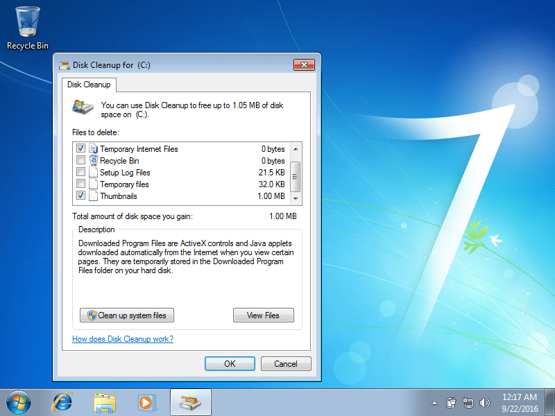 Disk Cleanup in Windows 7