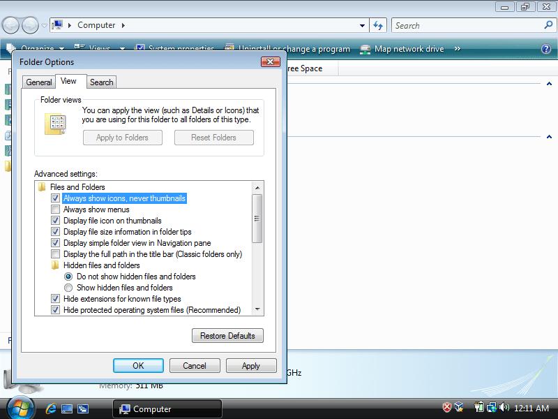 Thumbnails folder options in Windows Vista