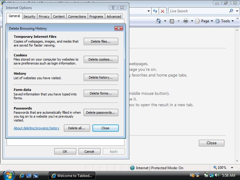 Internet Options screen in Internet Explorer 6