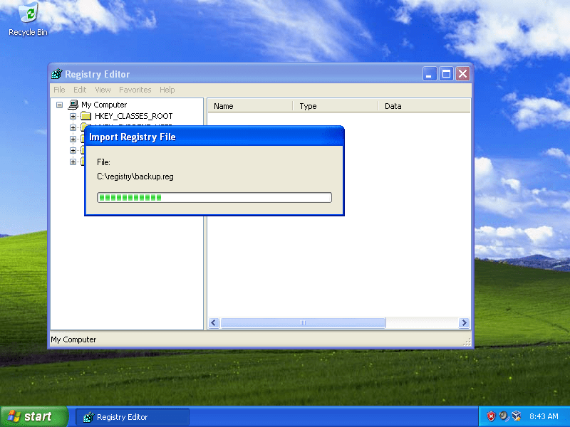 Windows XP regedit screen