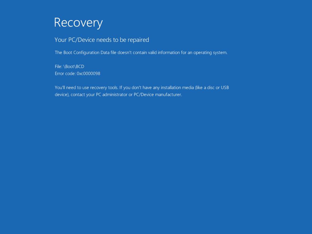 0xc0000098 – Fix for Windows XP, Vista, 7, 8, 10
