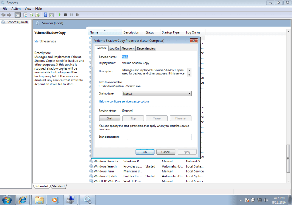 Windows 7 volume shadow copy service screen