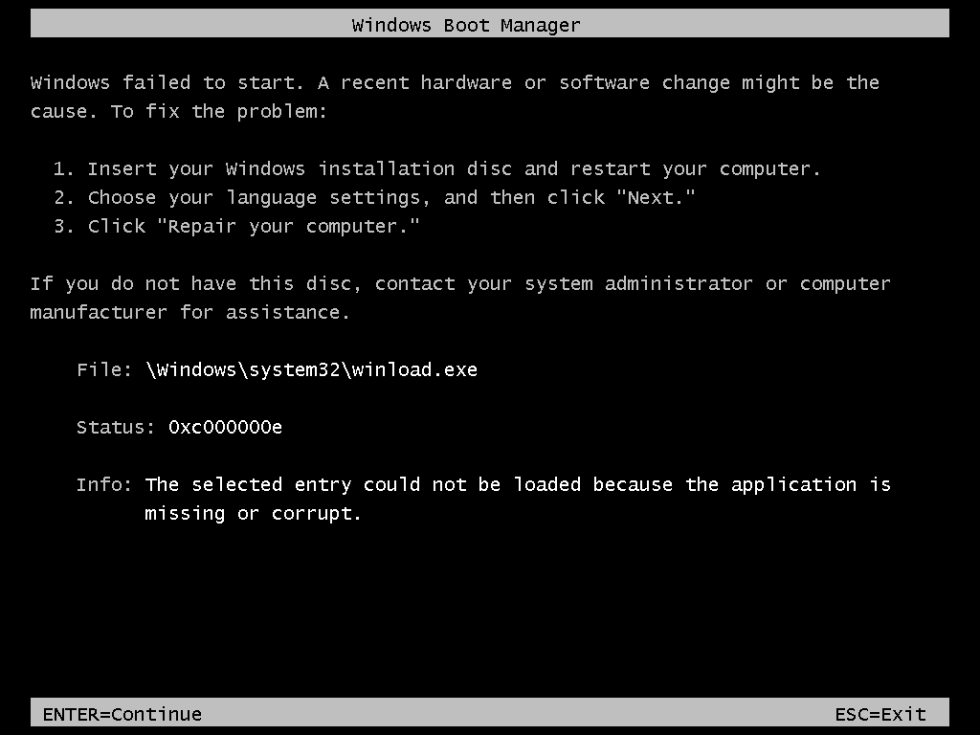 0xc000000e Windows Vista/Windows 7 error screen