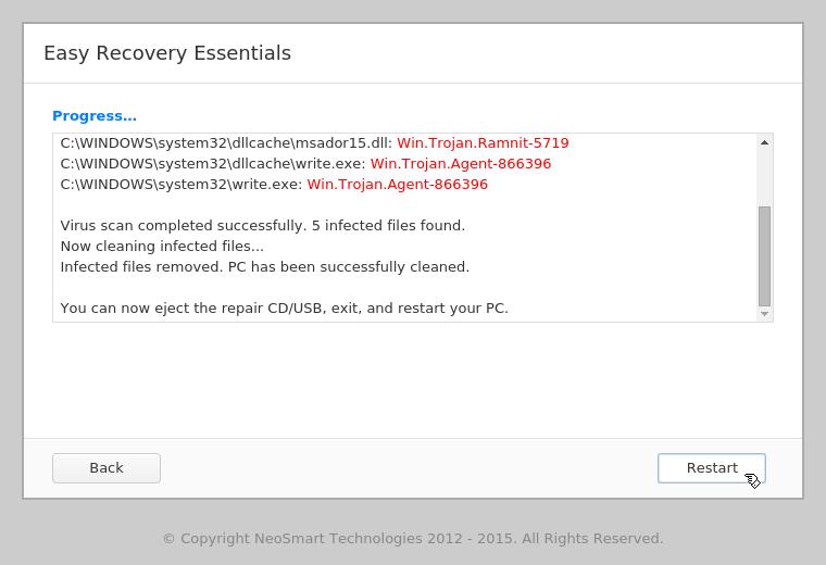 EasyRE Virus Scanner results