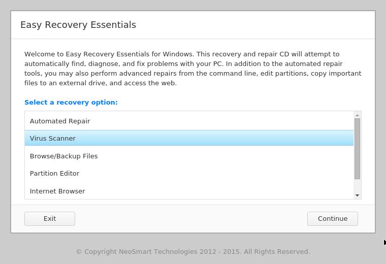 Virus Scanner feature in EasyRE menu