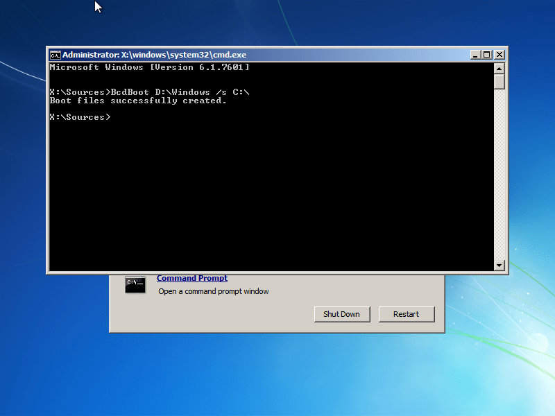 Windows 7 BcdBoot utility screen